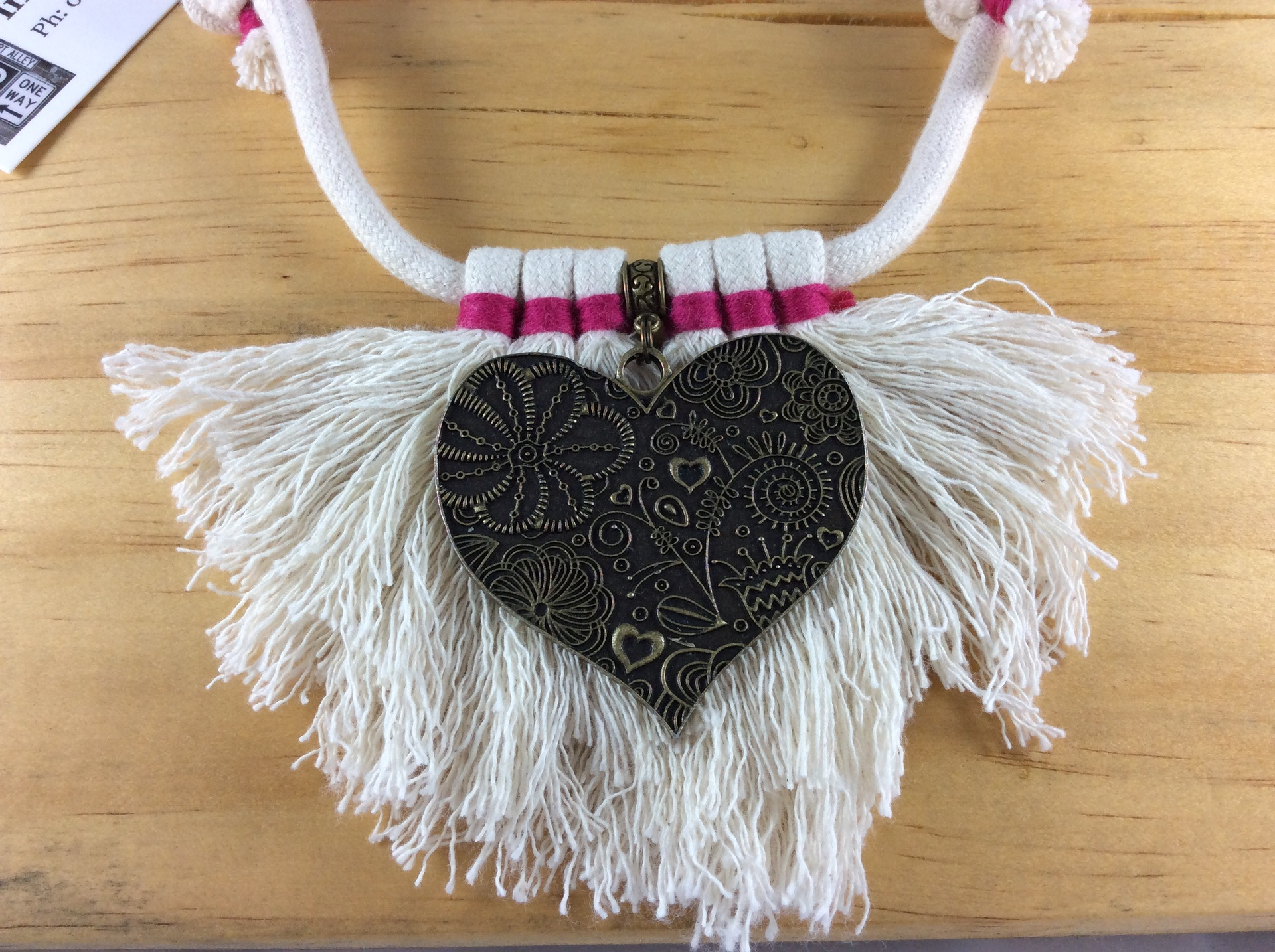 Syx Frayed Lines 'Long Fray' Frayed Cotton Necklace in Pink Yarrow with Solid Heart Accent