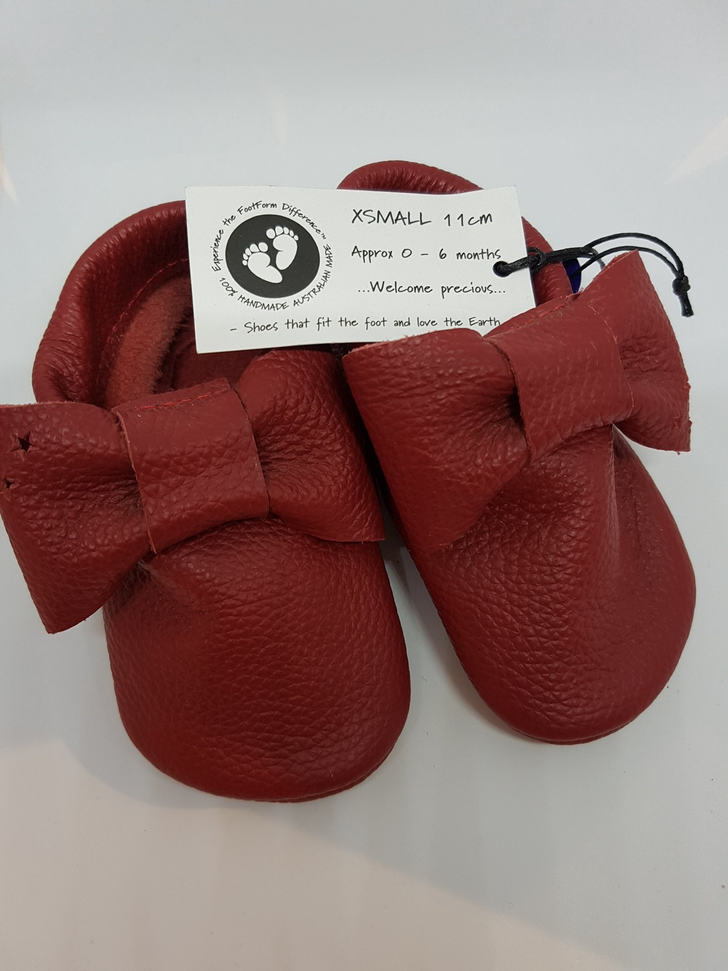 Baby Red Leather Bow Moccasins - fit approx 0-6 months