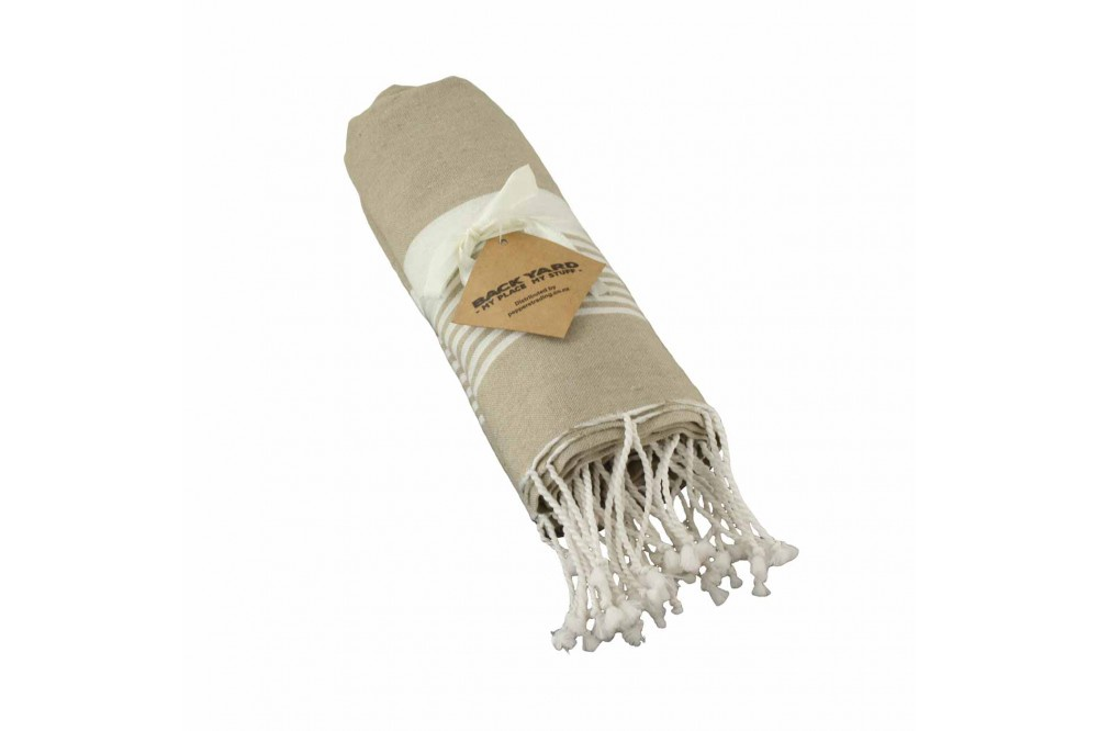 Cotton Towel Sand thin striped band