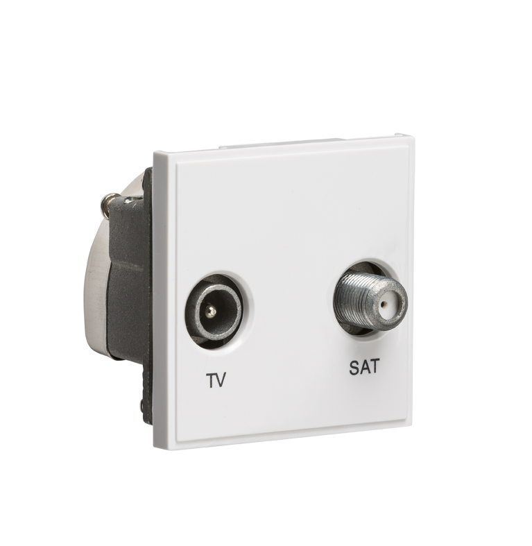 White Modular Diplexed TV /SAT TV Outlet