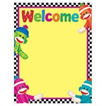 X T 38475 SOCK MONKEYS WELCOME CHART