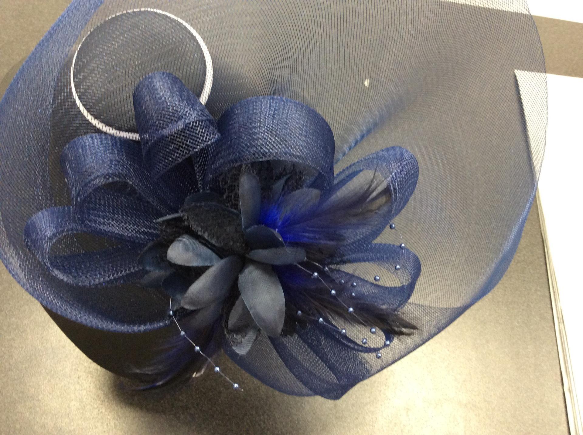 Stunning navy headpiece