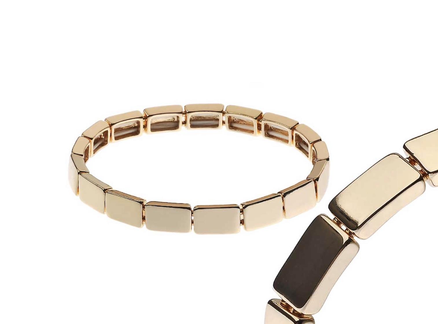 Gold square cast Elasticated Bracelet