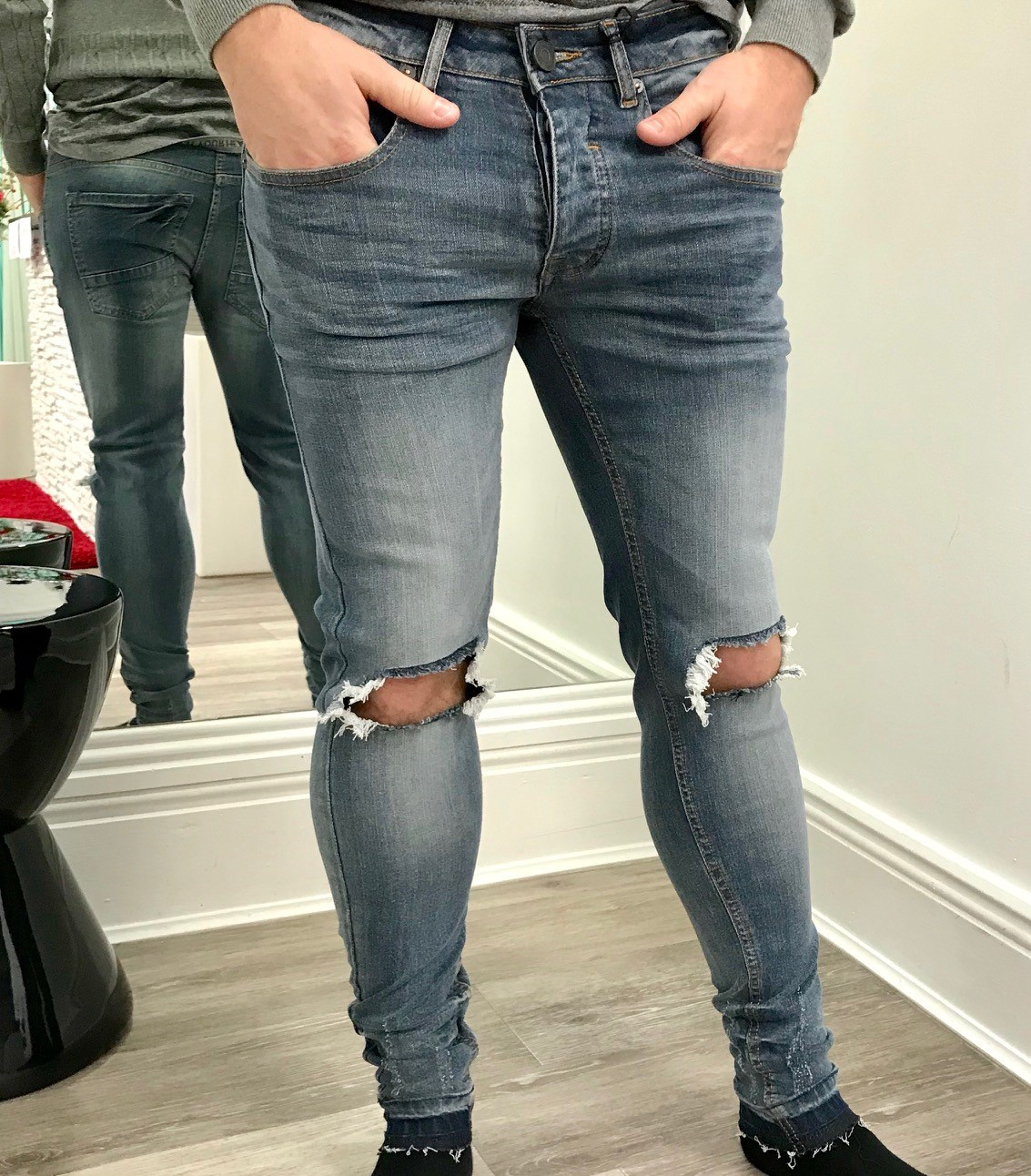 Menswear Ripped at the Knee Blue Wash Jeans