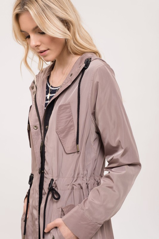 Mocha Windbreaker Long Jacket