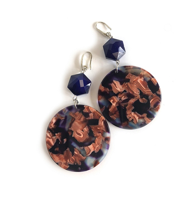 Circle Marble Drop Earrings from One Button