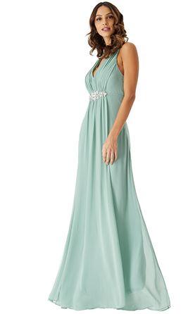 Floor Length Gown - Duckegg V Neck Embellished Maxi Dress, NEW