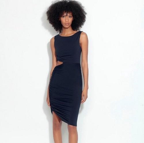 Side Gathered Cutout Dress | Black