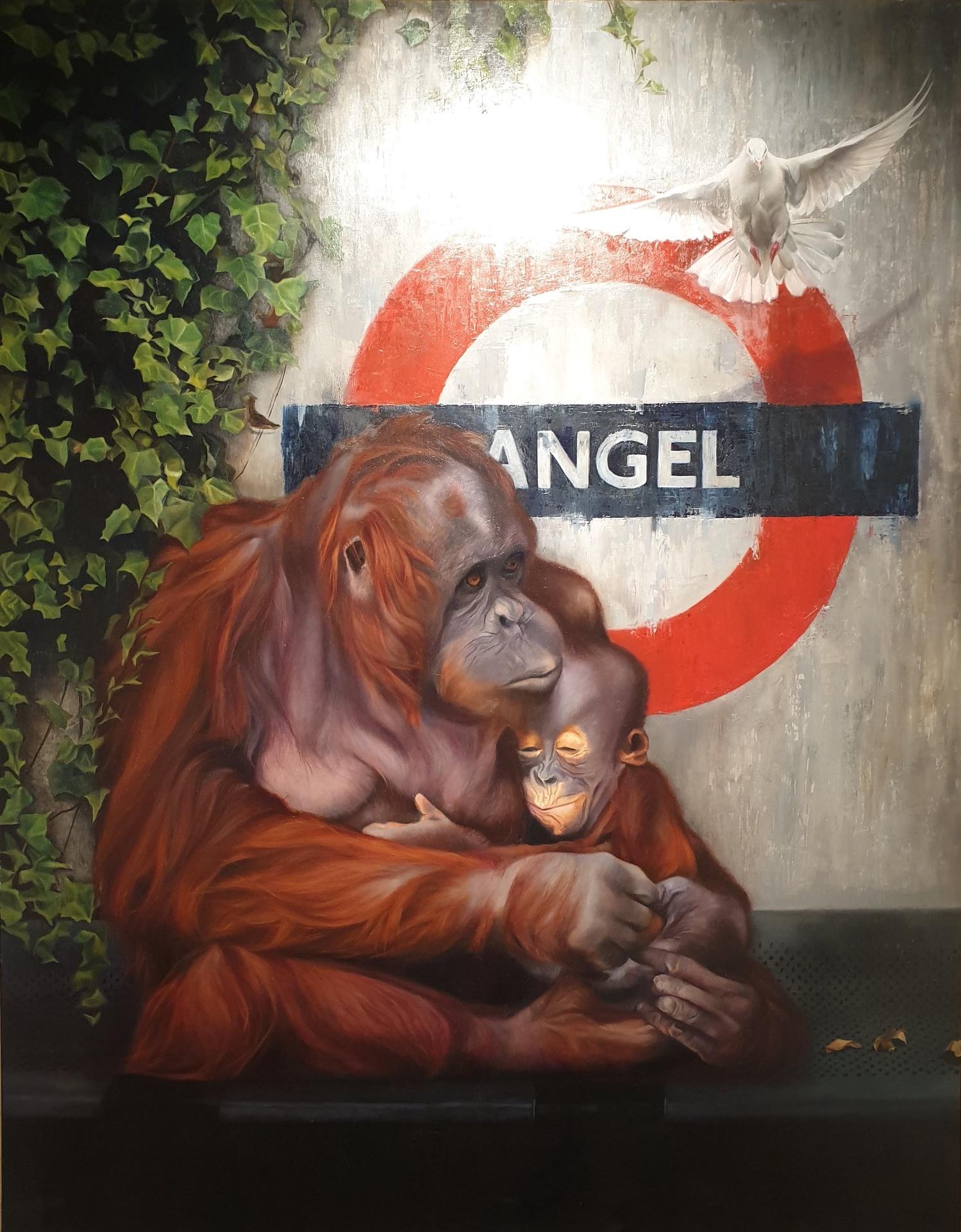 Charlotte & her Angel - Oil on panel