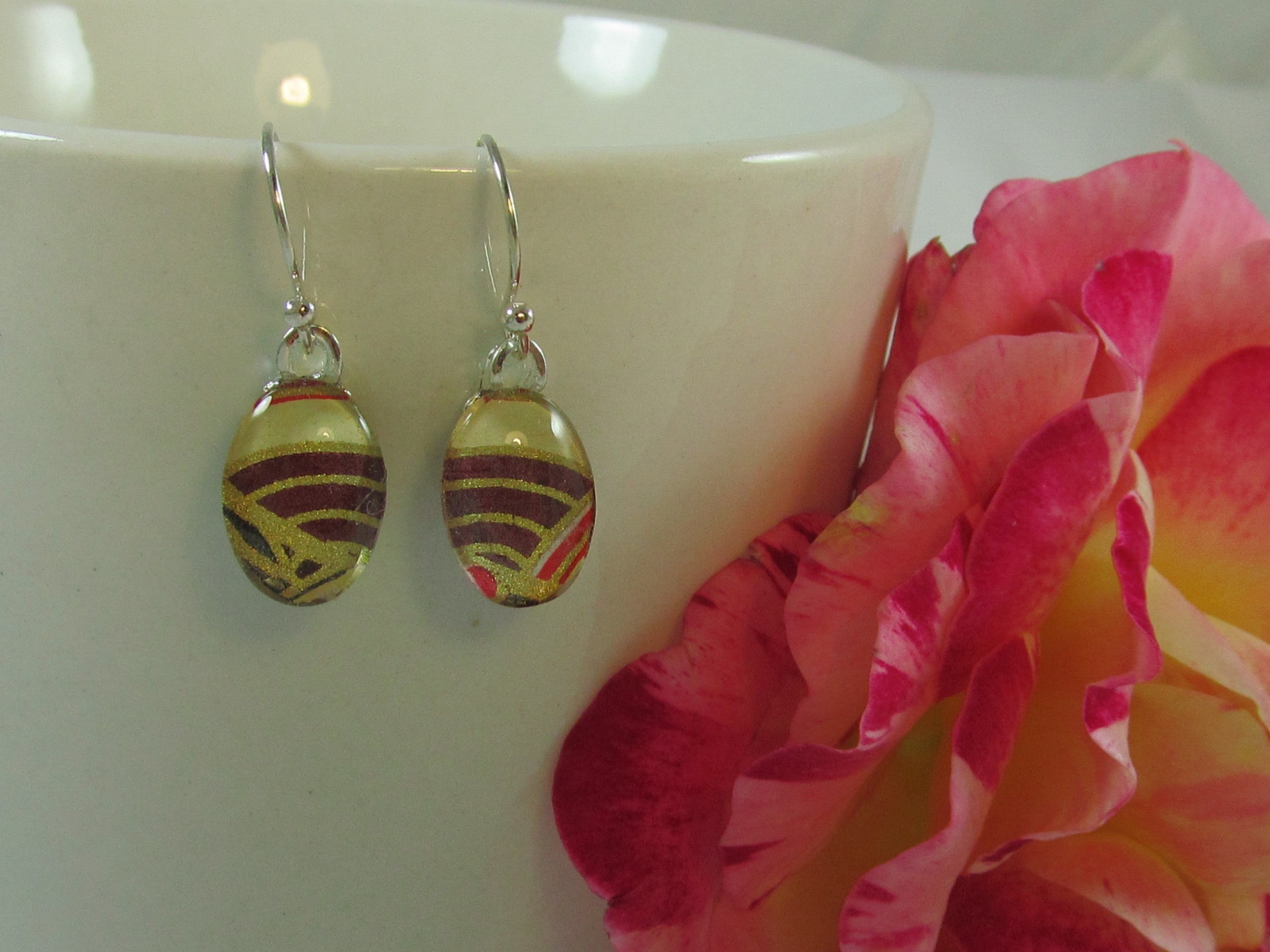 Brown and Gold Chiyogami Earrings