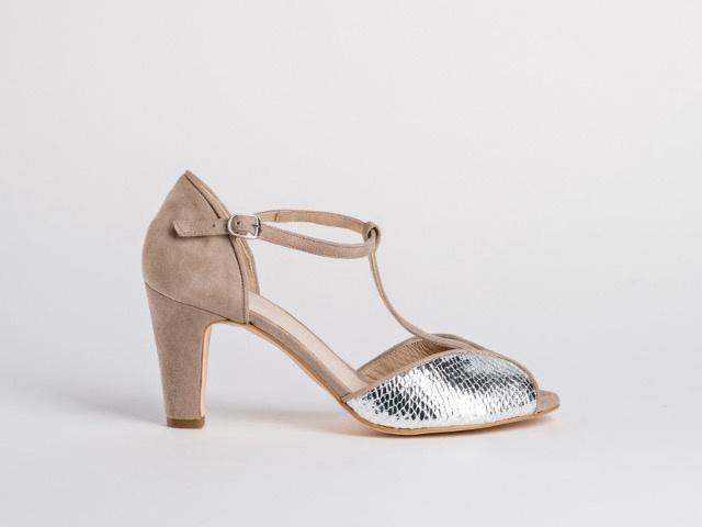 Reqins Sandals Dress Shoe Margritte P/Lezard Lame Naturel