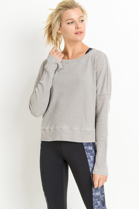 Lt. Grey Thermal Boxy Pullover w/ Flare Sleeves