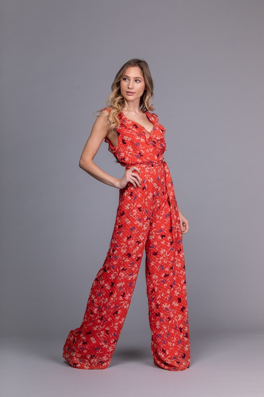 Red Swiss Dot Jump Suit w Floral Pattern