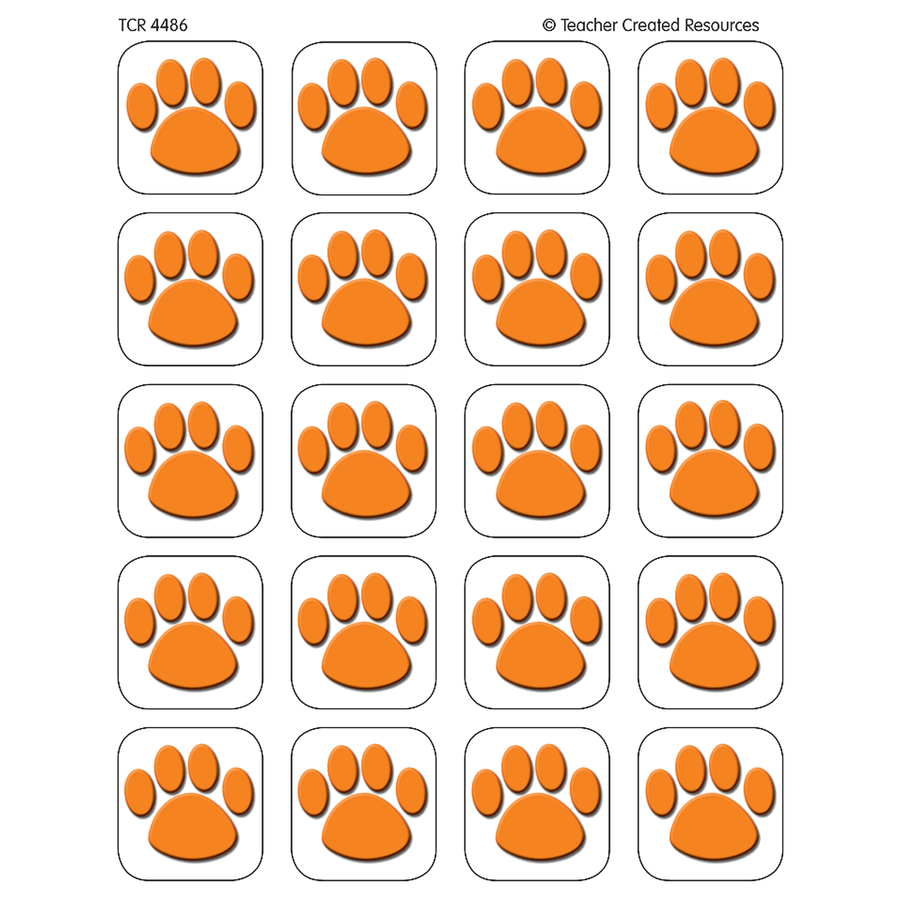 TCR 4486 ORANGE PAW STICKERS 120