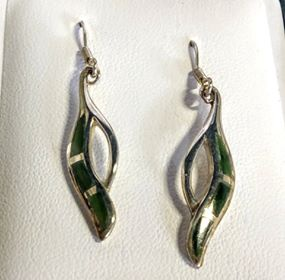 Greenstone & Silver Loop Drop Earrings