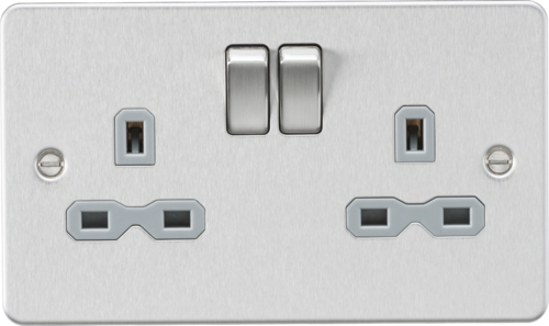Flat plate 13A 2G DP switched socket - brushed chrome with grey insert