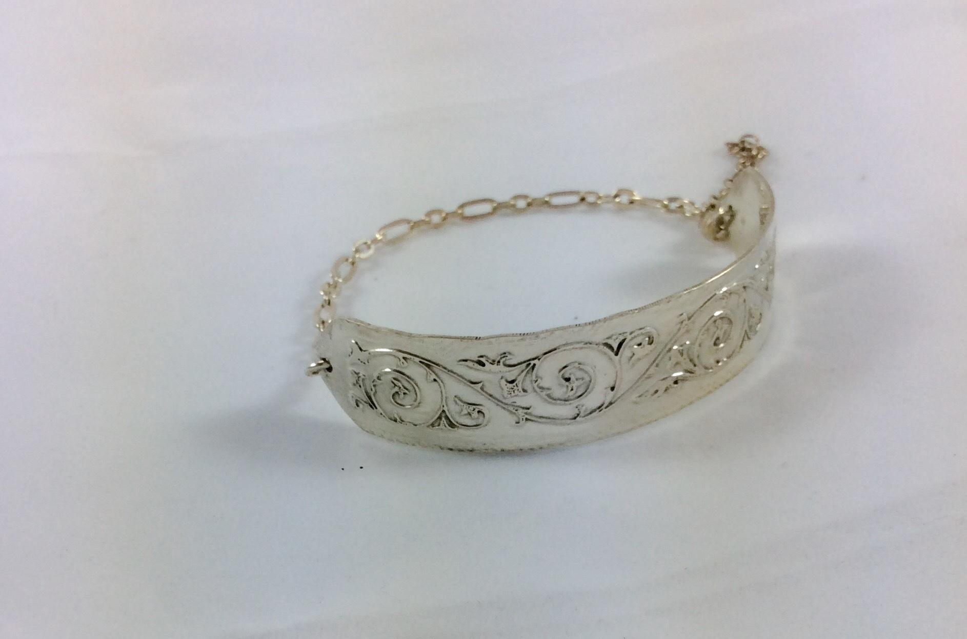 Sterling silver art nouveau etched bracelet