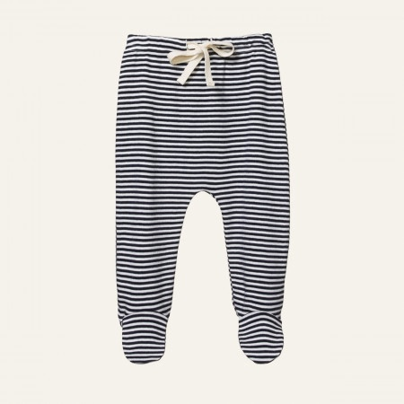 FOOTED ROMPERS - NAVY STRIPE