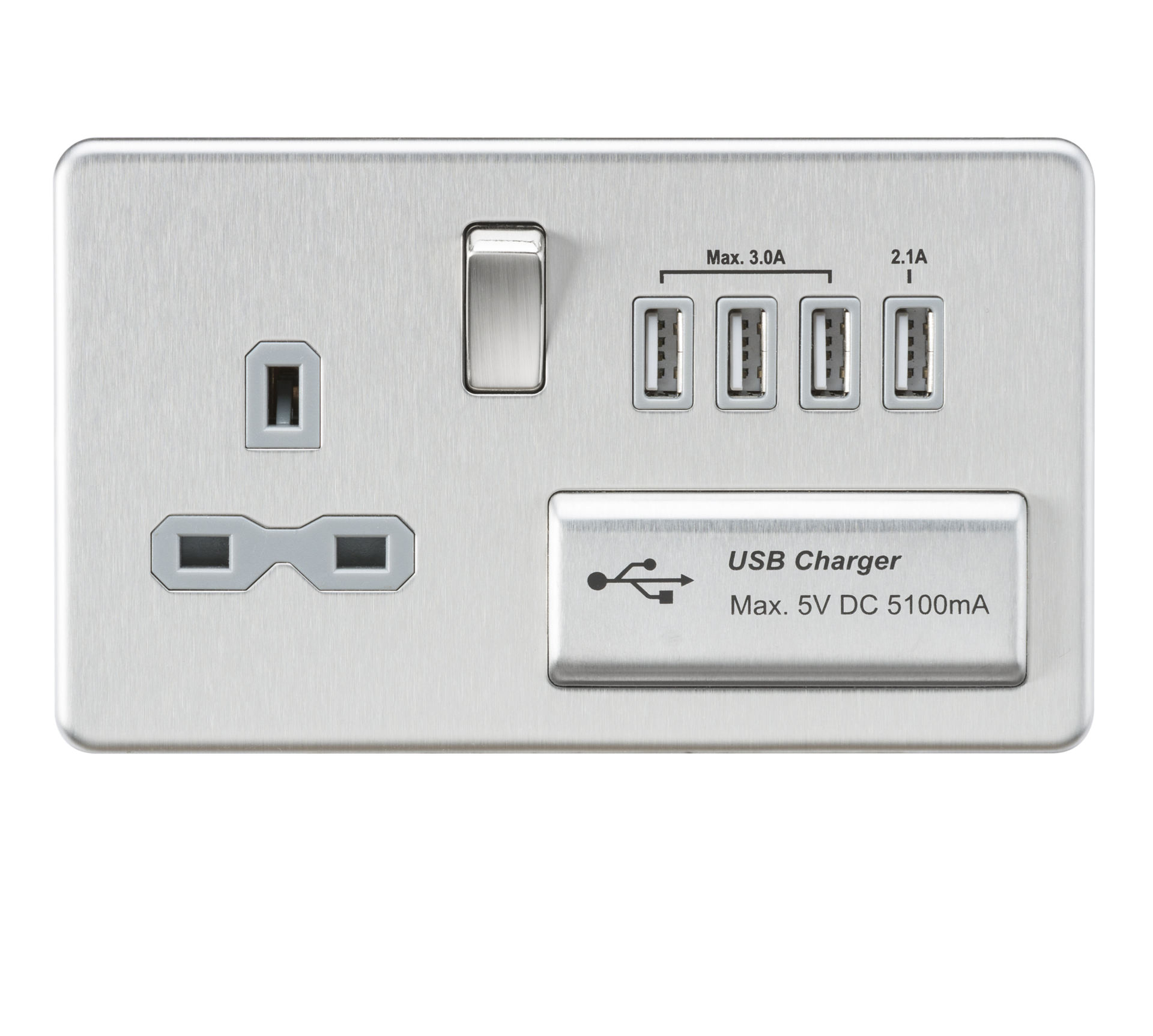 Screwless 13A switched socket with quad USB charger - Brushed chrome with grey insert