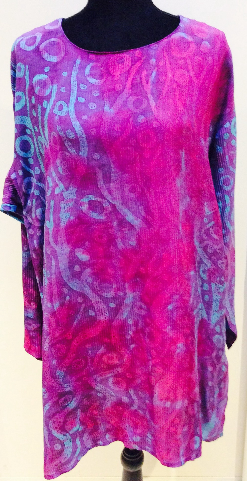 Hand Painted Pure Silk Long Sleeve Shirt/ Tunic: Size L