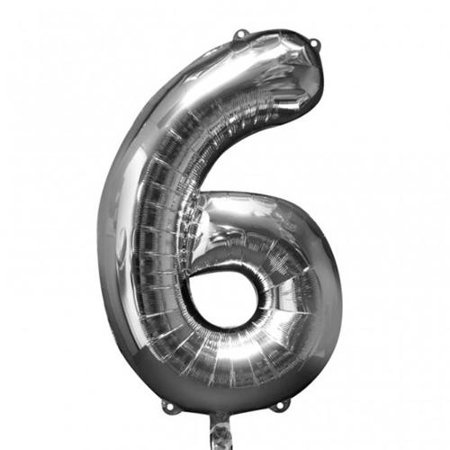 NUMBER 6 SILVER BALLOON 34 INCH