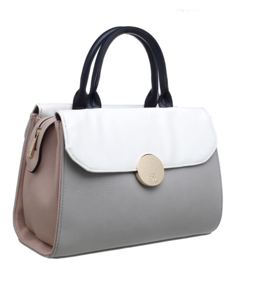 Abigail block colour double side tote bag grey