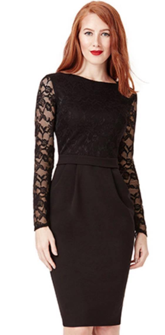 Short Dress - Black Lace Top and Sleeves Sheath Dress, Sale Rack