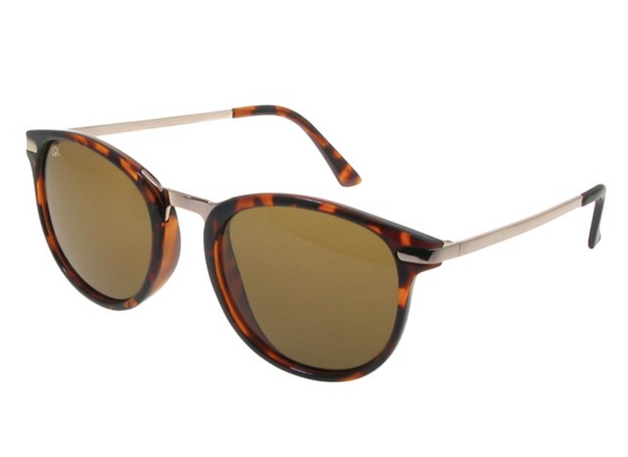 Tortoiseshell polarised round frame sunglasses