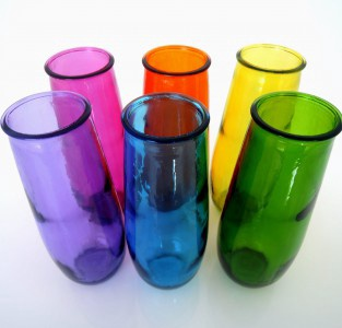 Coloured Tall Bud Vase