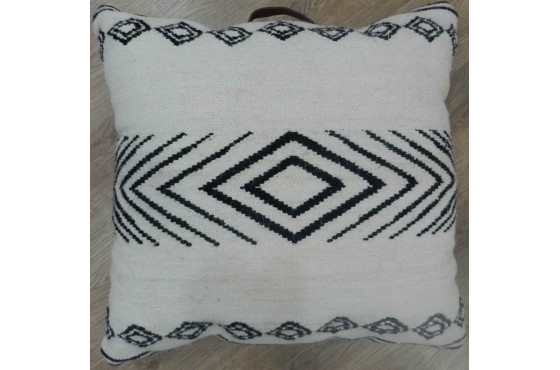 Floor Cushion White with Black patterns