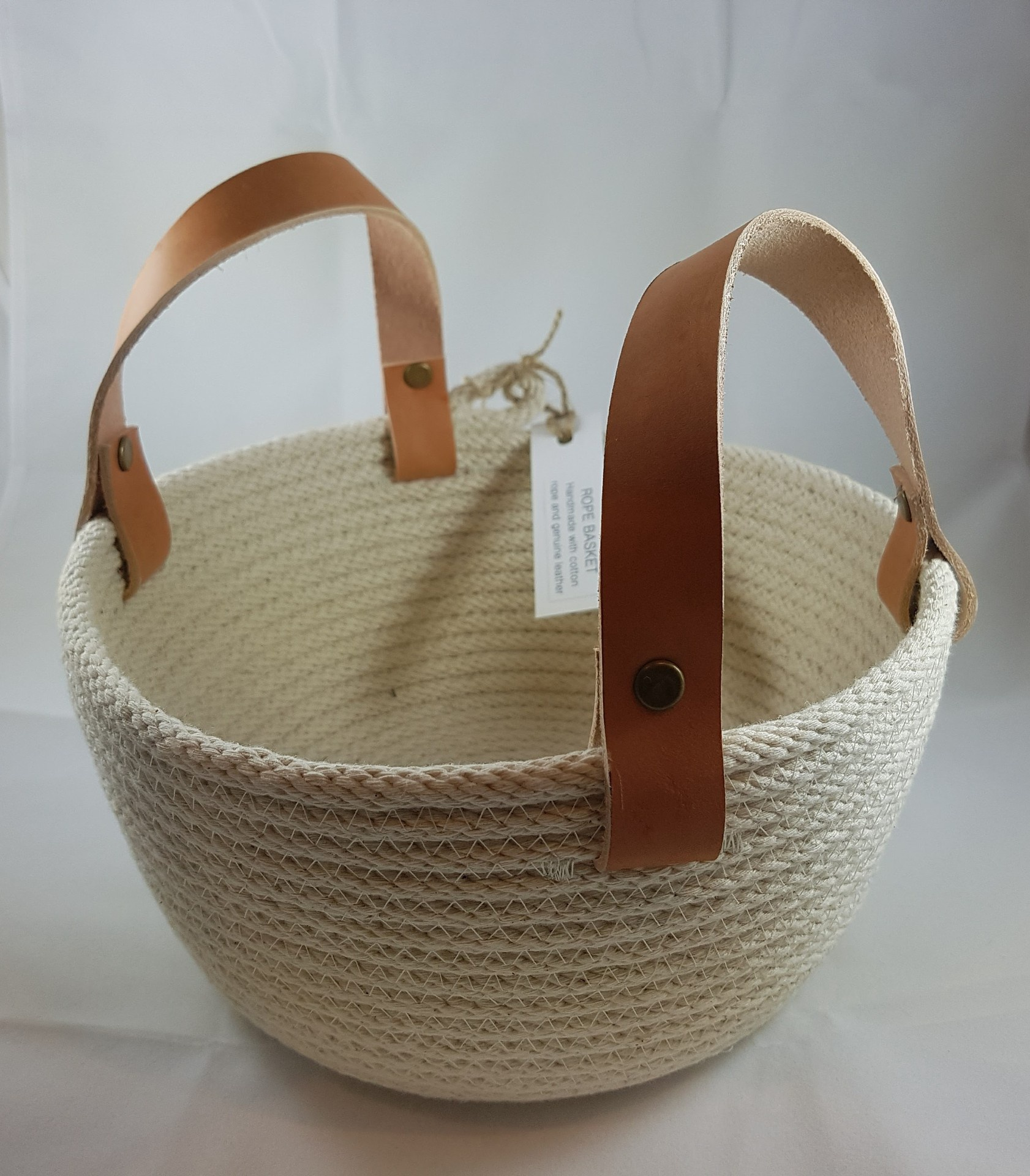 Rope Basket (22cm) with leather handles