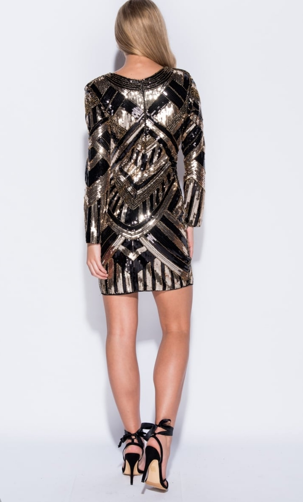 510b3d717e Short Dress Bodycon - Black and Gold Sequined Long Sleeves - Stevie ...