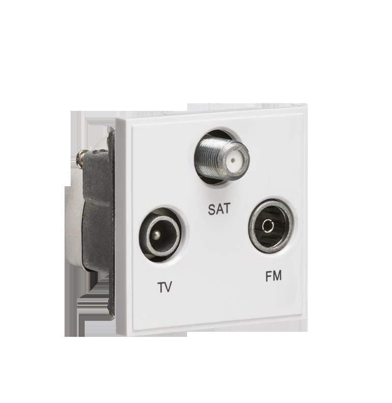 White Modular Triplexed TV /FM DAB/ SAT TV Outlet