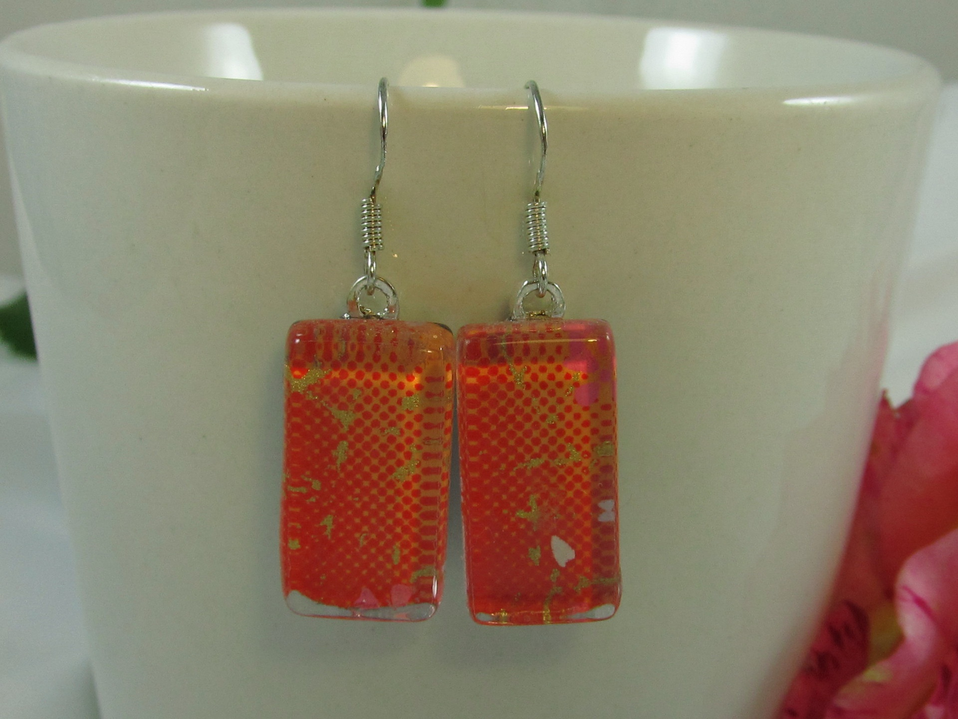 Orange and Gold Chiyogami Paper Earrings