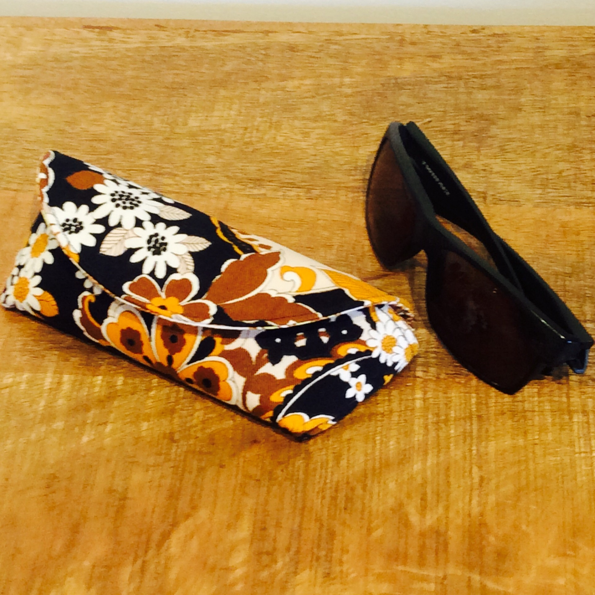 Funky Vintage Black, Brown and White Fabric Glasses Case