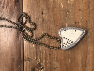 RA Crochet Heart Necklace on think Ball Chain