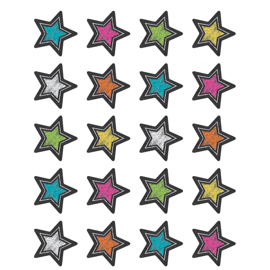 TCR 3555 CHALKBOARD BRIGHT STAR STICKERS