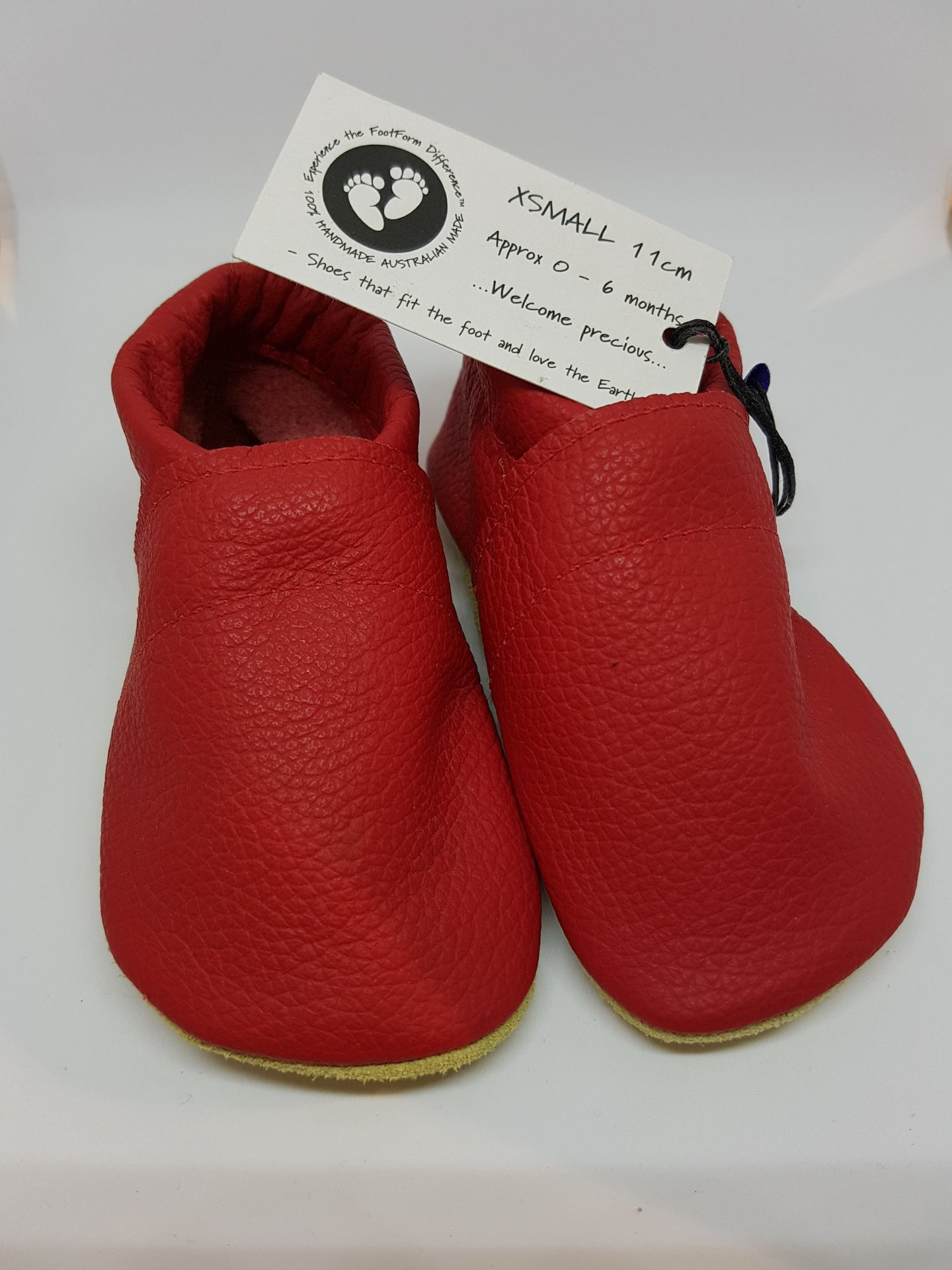Bright Red Leather Baby Moccasins - fit approx 0-6 months