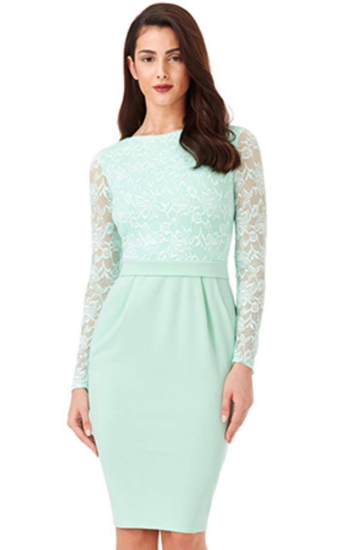 Short Dress - Mint Green Lace Sleeve Short Dress, Sale Rack