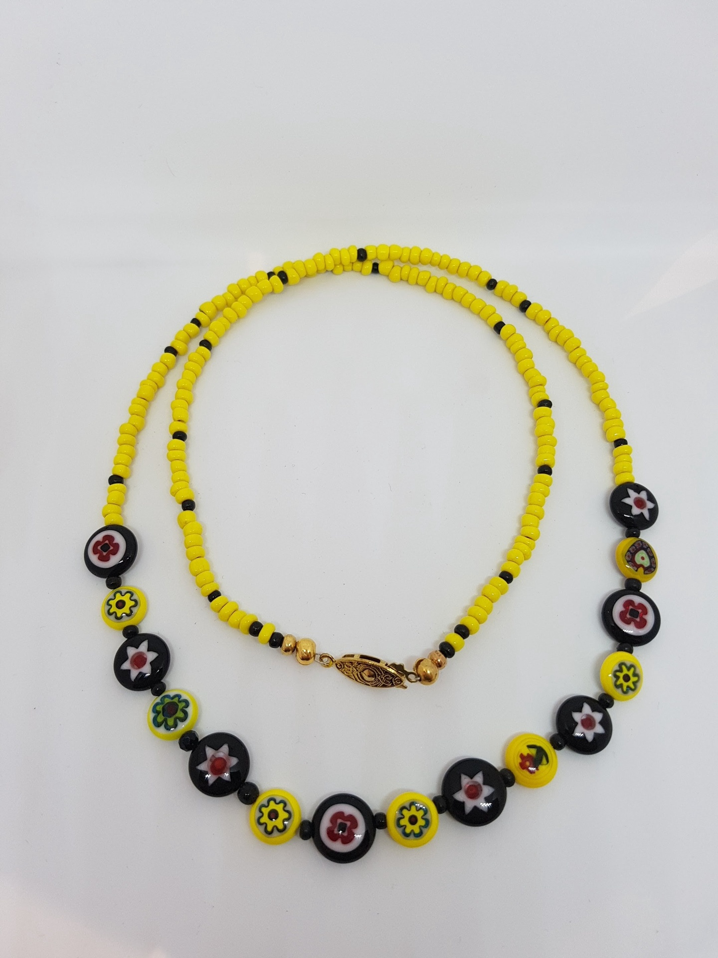 Yellow Floral Beaded Necklace