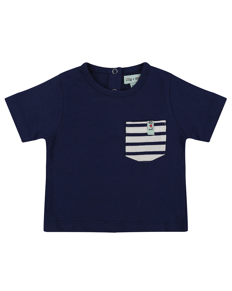 Lilly & Sid CLASSIC POCKET T- NAVY