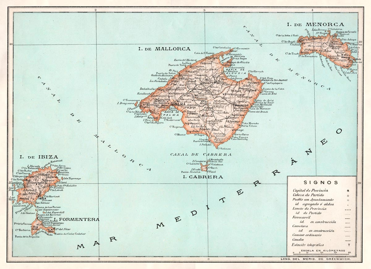 Retro Balearic Map | Print Only