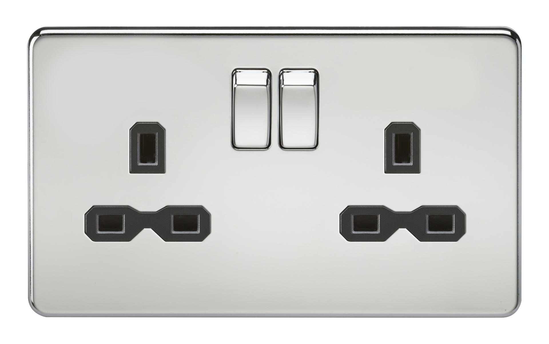 SCREWLESS 13A 2G DP SWITCHED SOCKET - POLISHED CHROME WITH BLACK INSERT