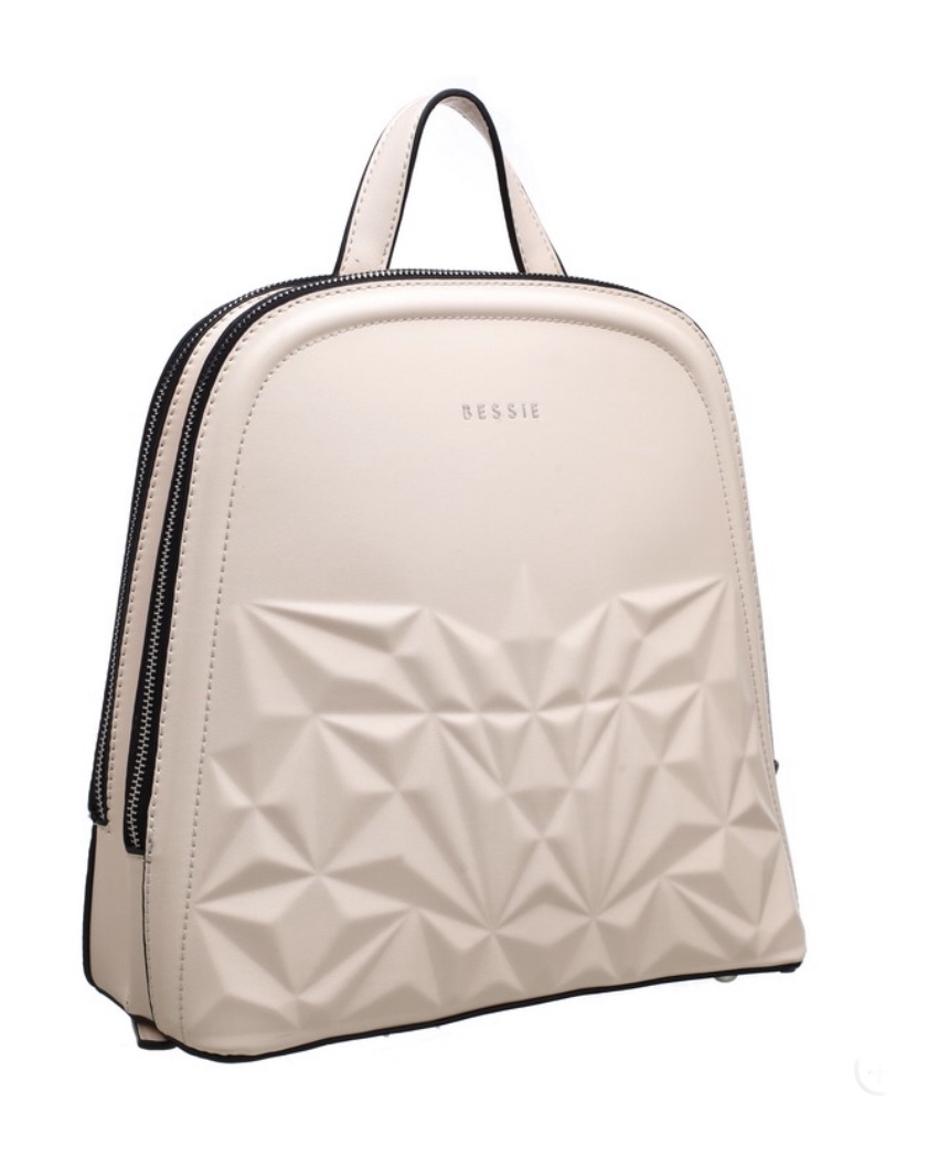 Zoe Pattern Structure Backpack cream