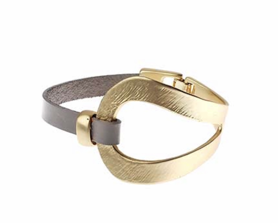 Taupe and brushed gold wrap around bracelet