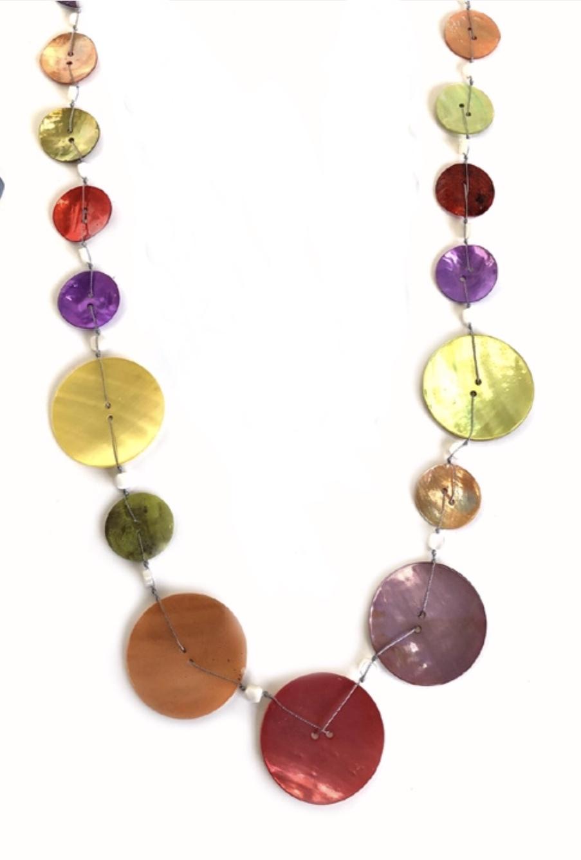 Capiz shell button long necklace