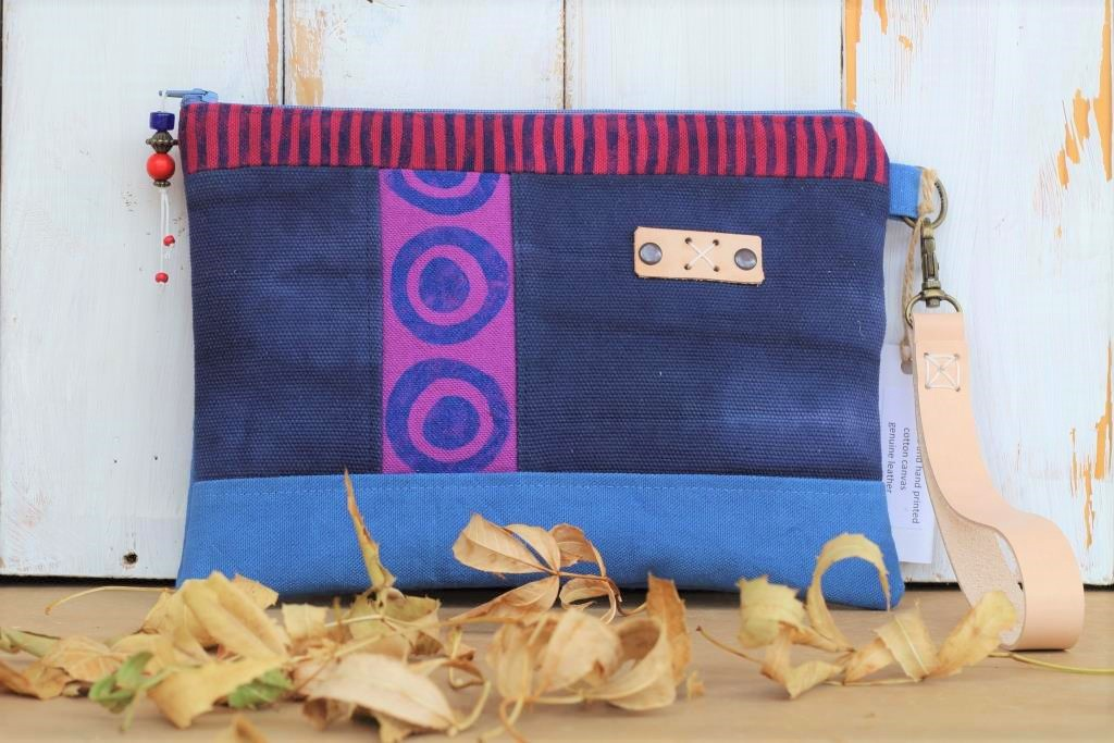 Navy, Blue and Purple Wrist clutch