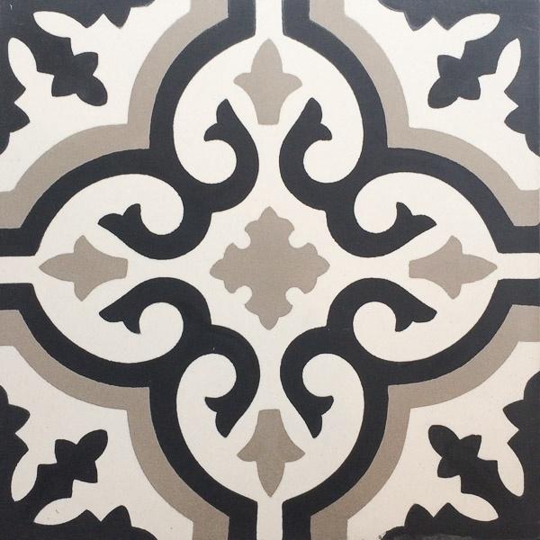 Handmade Tile | Grey Black Mediterranean Ornaments