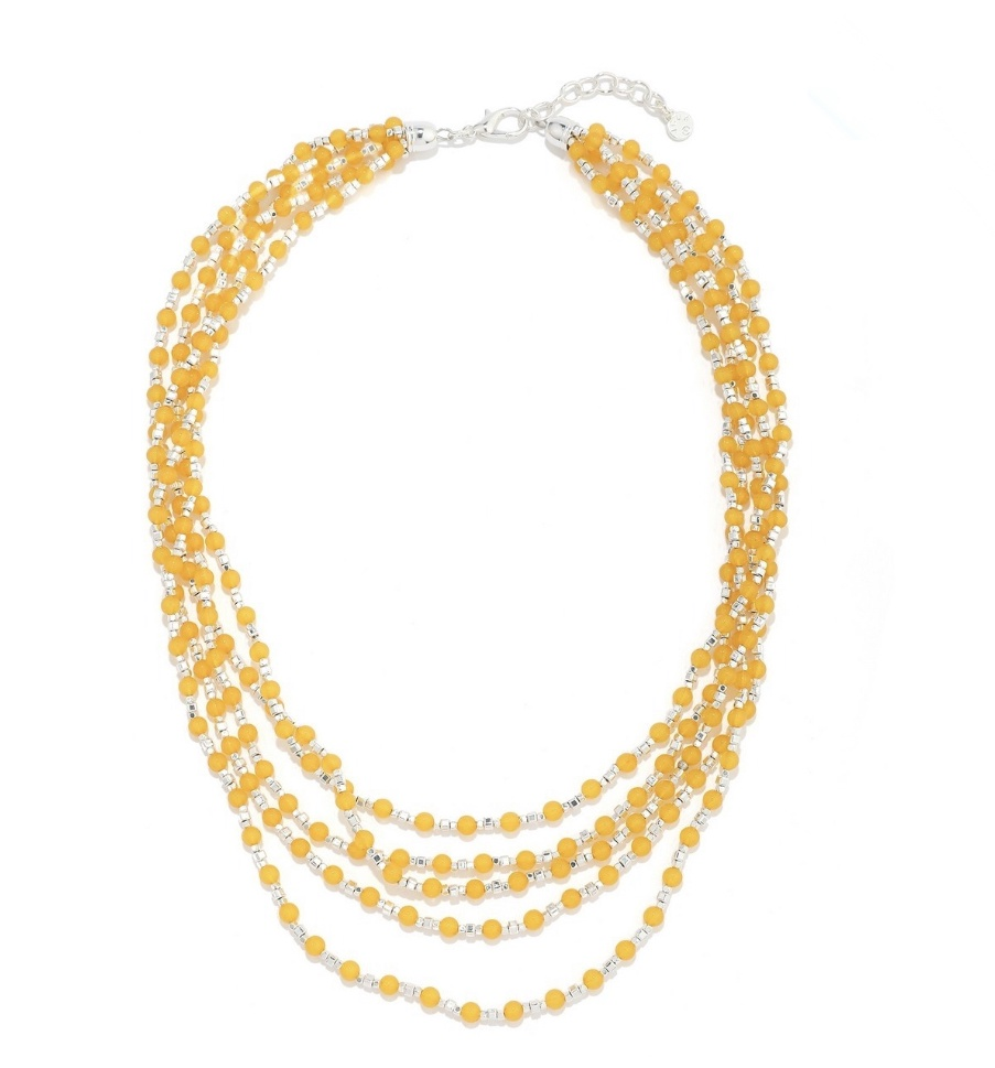 Multi strand yellow & silver bead necklace
