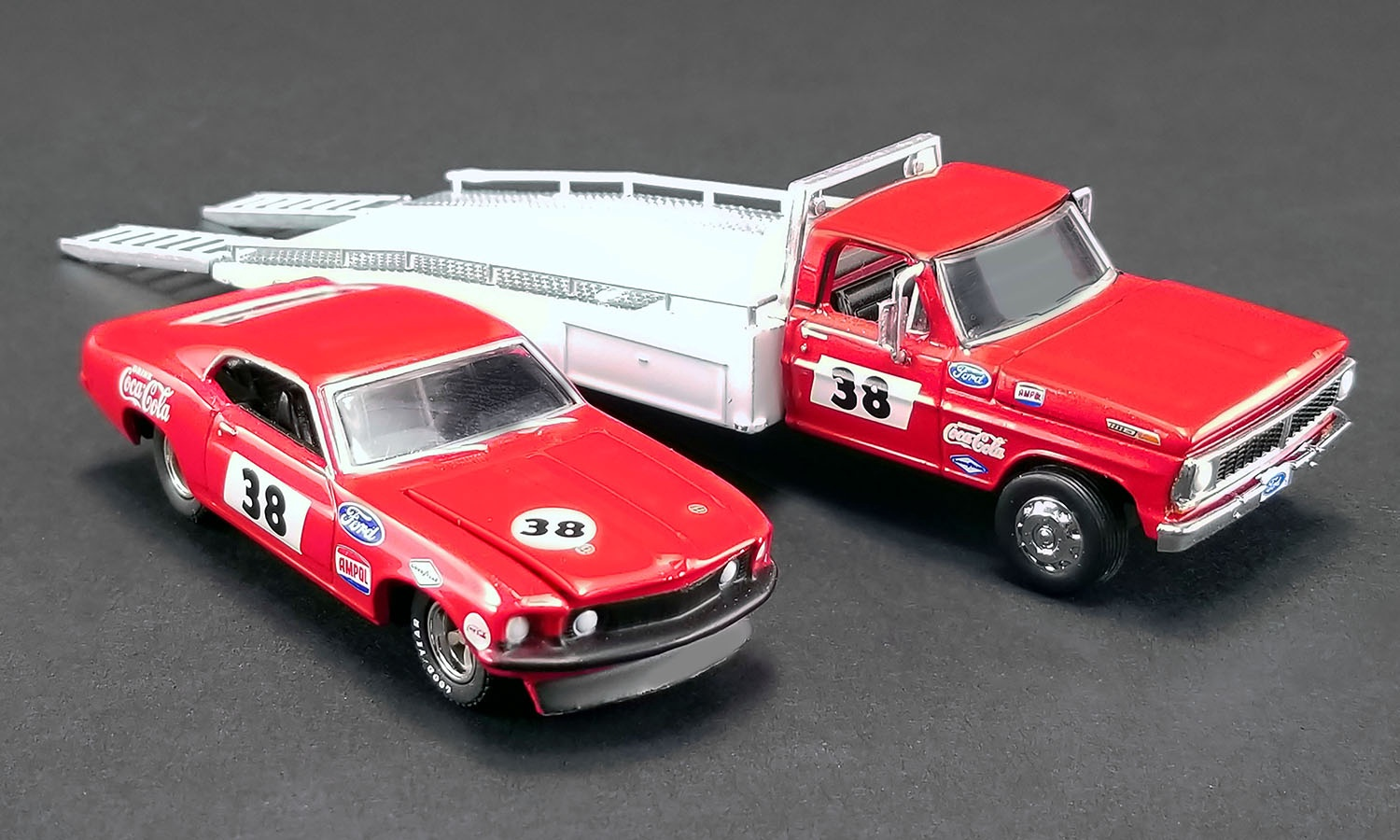 Acme #51269 1/64  Ford F-350 Ramp Truck with  1969 Trans Am Mustang